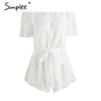 Lace off shoulder ruffle summer jumpsuit romper Women sexy hollow out white short playsuit Casual belt bow overalls