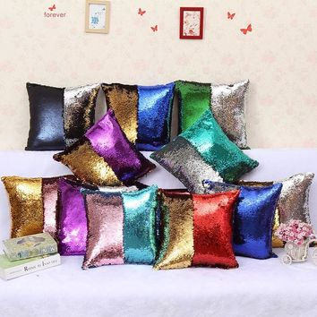 Fashion Magical Chameleon Pillowcase Two Color Mermaid Sequin Decorative Cushion Cover Pillow Home Decor Changing Reversible 40