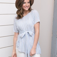 Ivory/Blue Stripe Top