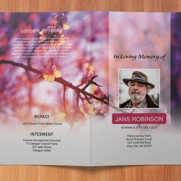 Printable Funeral Program Template, Memorial Program | Editable With Microsoft Word, Publisher & Mac Pages, Instant Download - EF25