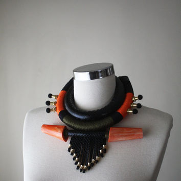 WARRIOR  African Inspired Necklace Tribal Necklace Ethnic Necklace Leather Fringe Necklace Large Bold Giant Statement Necklace Black Orange