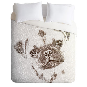 Belle13 The Intellectual Pug Duvet Cover