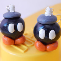 bomb bob-omb super mario bros gamer jewelry teen jewelry nintendo video game earrings cute polymer clay jewellry geek gift bobomb character