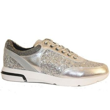 Wanted Hayes   Silver Metallic/glitter Lace Up Sneaker