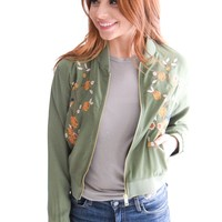 Blue Jay Embroidered Bomber Jacket