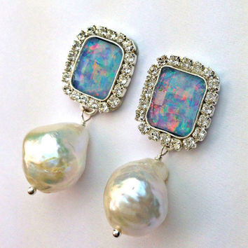Black Opal Dangle Earrings, Australian Black Opal, Rectangle Opal Baroque Pearl Post Earrings, Double Dangle Opal Earring October Birthstone