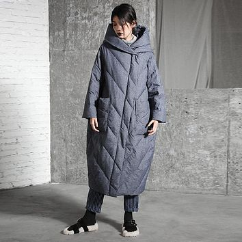 -30 Degrees Keep Warm!Winter Long Quilted Coat Women Zipper Hooded Ultra Long Down Jacket Women's Thickening Fashion Down Parkas