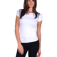 Majestic Short Sleeve Crewneck Tee With Laser Cut Trim - White