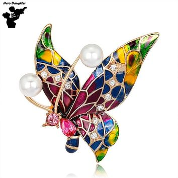 2017 Colorful Oil Painting Crystal Rhinestone Butterfly Brooch Pin Lady Enamel  Bouquet Sparkling Brooch Pins Jewelry Metal DIY