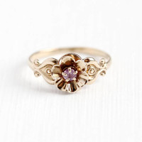 Vintage Sapphire Ring - 10k Rosy Yellow Gold Genuine Light Pink Sapphire Gem Flower Ring - 1940s Size 4 Pinky Ring Buttercup Fine Jewelry