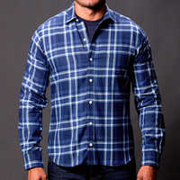 Blue & White Plaid Flannel Shirt - Zack