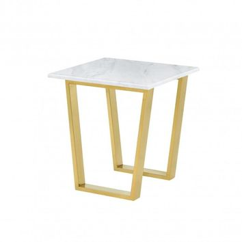 Cameron Gold End Table Genuine Marble Top