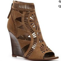 Sergio Rossi Cutout Suede Wedge Bootie    - DSW