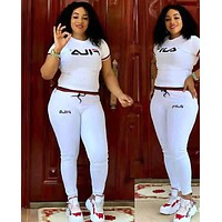 FILA Fashion Women Casual Short Sleeve Top Pants Two-Piece White