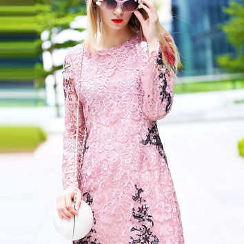 Pink Lace Long Sleeve Embroidered A-line Mini Dress