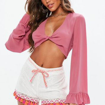 Missguided - Pink Twist Front Flared Sleeve Crop Top