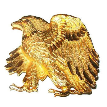 "Bald Eagle Brooch Walking Standing Gold Plated Etched Metal 2"" Vintage"