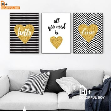 Gold Heart Love Quotes Wall Art Canvas Painting Nordic Posters And Prints Pop Art Wall Pictures For Living Room Kids Room Decor
