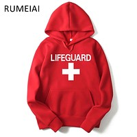 2017 New Mens Hoodies Sweatshirts Lifeguard Print Design Black/Gray/red Men Women Hoodies Casual Hip Hop Hooded Brand Clothing