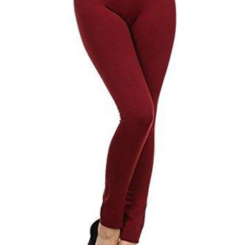 Yelete Womens 55quot High Waistband Full Length Seamless Fleece Lined Winter Leggings One Size
