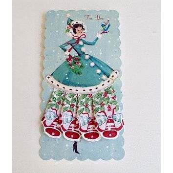 Charming Christmas Holiday Susie in Bells Hankie Gift Card