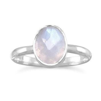 Sterling Silver Rainbow Moonstone Stackable Bezel Oval Ring
