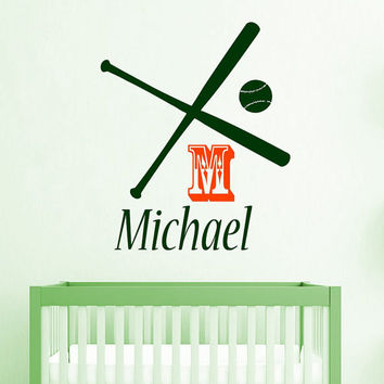 Baseball Wall Decal Boy Personalized Name Stickers Softball Vinyl Decals Monogram Art Mural Bedroom Decor Interior Design Nursery Decor KY86