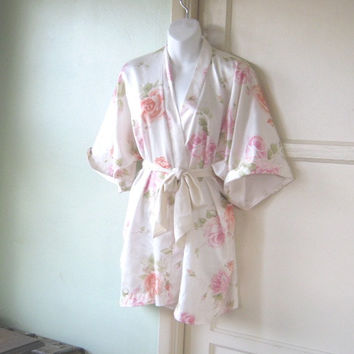 Coral/Pink Rose Print Silky Short Kimono Robe; Women's Small-Medium Asian Robe/Free Shipping/U.S.