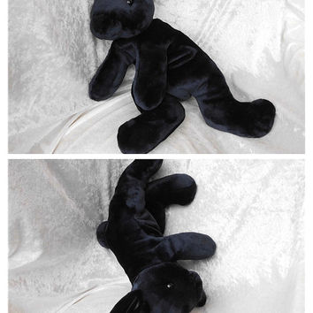 Black BUNNY toy, dwarf rabbit black, stuffed rabbit black, cuddly bunny plush smaller ears black rabbit soft toy handmade ooak MADE to ORDER