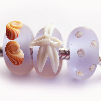 European charms, Lilac beach glass, Seaglass Large Hole beads, Seashell beads, Lampwork Bracelet beads, Starfish Jewelry, by MayaHoney