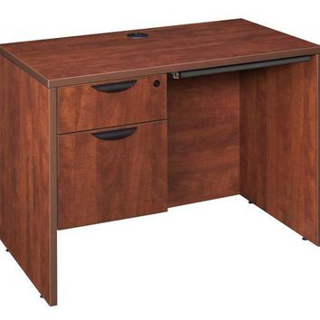 "Legacy 42"" Single Pedestal Desk with Pencil Drawer- Cherry"