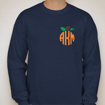 Monogrammed Pumpkin Patch Long Sleeve Tshirt...Navy, Circle Monogram, Southern Made, Monogram it, Initials, Fall, Pumpkin Patch