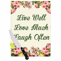 "NL Designs ""Live, Love, Laugh"" Floral Typography Cutting Board"