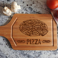 ikb19 Personalized Cutting Board Wood Pizza Italian food kitchen pizzeria