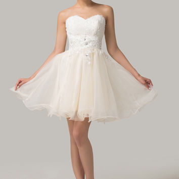 White Floral Beaded Homecoming Dress