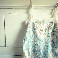 Crocheted swan dress. Hand dyed creme brulee. Beige. Light blue. Sundress. Women. Romantic. Size xsmall, small.
