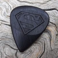 Handmade Premium African Blackwood Guitar Pick - Laser Engraved - Actual Pick Shown - No Stock Photos