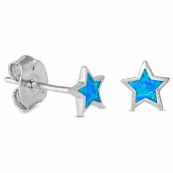 .925 Sterling Silver Star Blue Fire Opal Ladies and Kids Stud Earrings