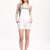 White Denim Shortalls for Women | Old Navy