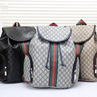 """Gucci"" Men Casual Fashion Multicolor Stripe Classic Print Drawstring Backpack Large Capacity Travel Double Shoulder Bag"