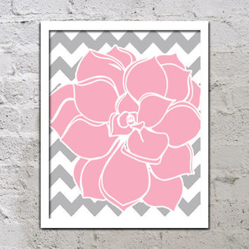 Bold Colorful Dahlia Flower Chevron Pink Grey Gay Decor Wall Art Poster Nursery Print Bedroom Bathroom