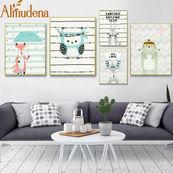 Owls Wall Art Posters Paintings on Canvas Nordic Print Bear Fox Deer Wall Pictures for Living Room Nursery Bedroom Canvas Art