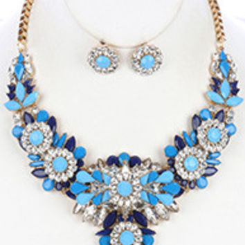 Chunky Bib Statement Floral Necklace/Earrings Set (Blue)