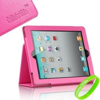 Cellularvilla Apple Ipad 2 Pink Standby Leather Case for Ipad 2 (Built-in Magnet Stripe for Apple S