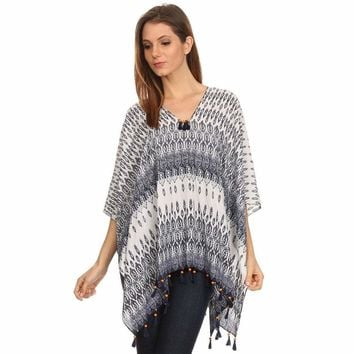 Womens Pullover Lightweight Poncho with Wooden Beaded Tassels