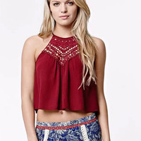 Lace Patchwork Chiffon Halter Neck Crop Top