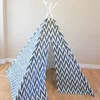Navy, Blue, White, Striped, Chevron, Play Teepee, Tee Pee, Tent, Wigwam (Poles Included) Ready to Ship