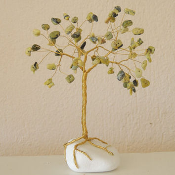 Natural Turquoise Yellow green Wire tree,gem tree,wire tree of life,wire tree sculpture,gemstone tree