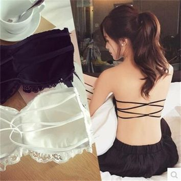 Lanxxy Lace Strapless Tube Top Cross Sexy Bra Crop Tops Blusa De Renda Padded Tube Bra Black and White Lace Bralette