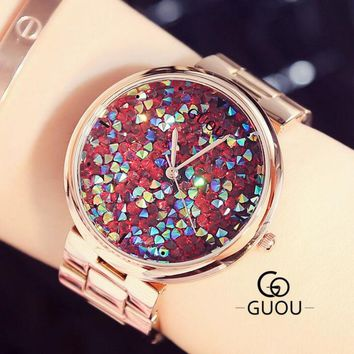 GUOU Colorful Diamond Wrist Watch Luxury Shiny Rhinestone Watch Women Watches Rose Gold Women's Watches Clock saat montre femme